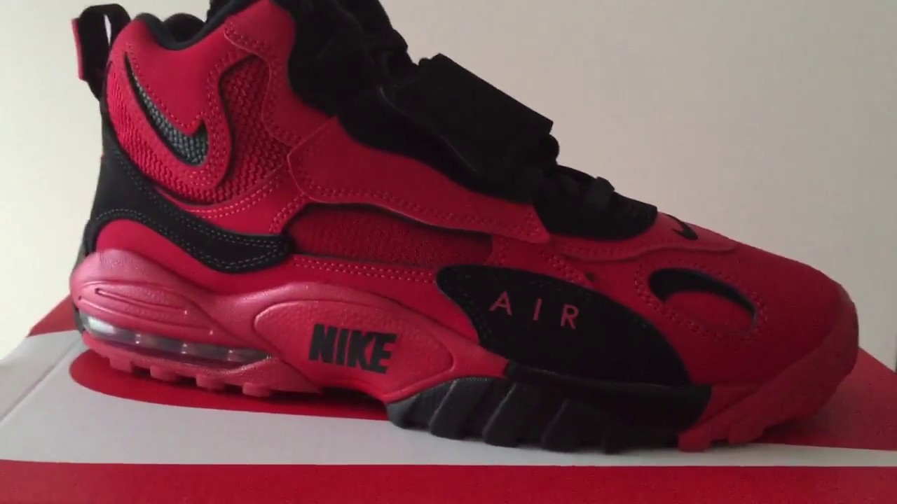916f6f06cd Quick Look At The Nike Air Max Speed Turf Red Black falcons Brett Favre