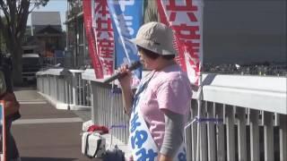 日本共産党つくば市の新人、山中まゆみの街頭宣伝です。