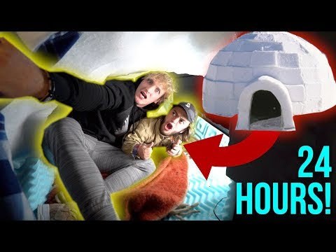 Download Youtube: 24-HOUR OVERNIGHT CHALLENGE INSIDE AN IGLOO! **disaster**