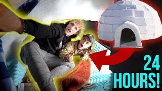 24-HOUR OVERNIGHT CHALLENGE INSIDE AN IGLOO! **disaster**