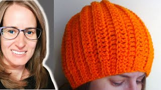 Repeat youtube video Easy Ribbed Hat Crochet Tutorial - Can be made into a slouch