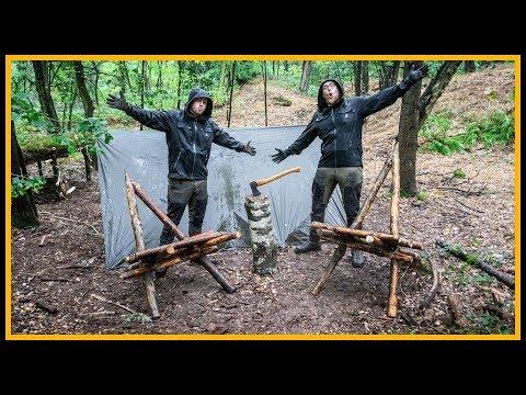 Bushcraft Camp [S05/E03] ????️ Stühle bauen im Regen ????️ - Outdoor Bushcraft Deutschland