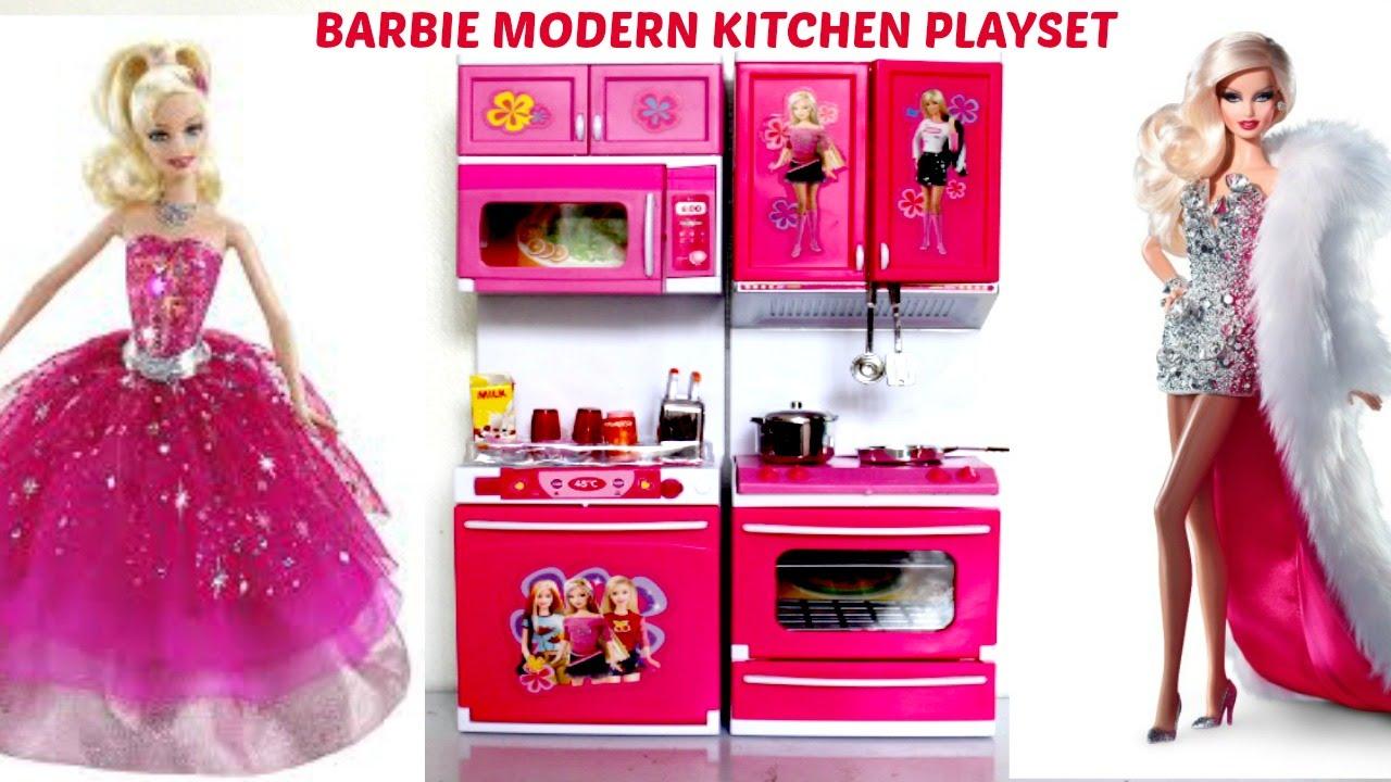 NEW BARBIE Video Modern Kitchen Preschool Playset I Kids ...