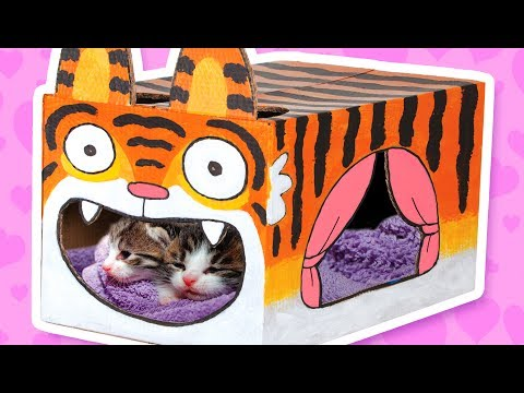 Thumbnail: Cardboard Tiger Cat House - Crafts Ideas With Boxes | DIY on BoxYourself