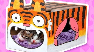 Cardboard Tiger Cat House - Crafts Ideas With Boxes | DIY on BoxYourself