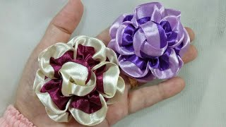 135) DIY - Tutorial || Cara Membuat Bros Bunga Serut || Ribbon Flower || Curly Flower || Curly Rose