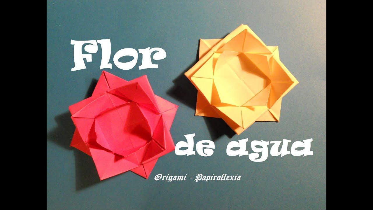 Origami papiroflexia tutorial flor de agua muy facil - Papiroflexia paso a paso ...