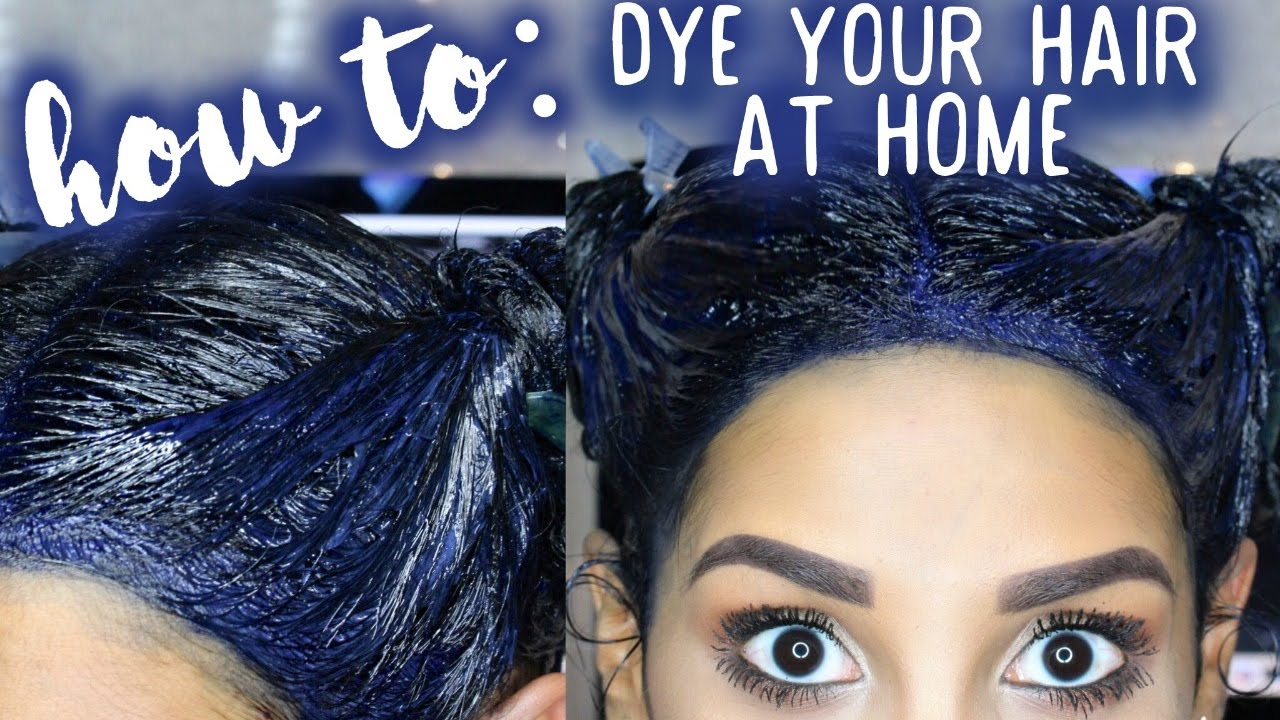 How To: Dye Your Hair At Home (BLUE BLACK) - YouTube