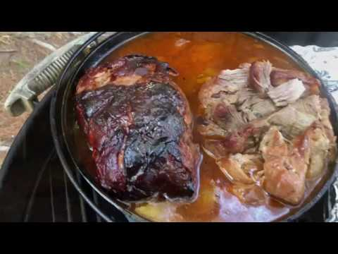 Cast iron cooking - pulled pork - Bushcraft camp cooking - apple smoked captain morgan pulled pork