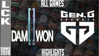 dwg vs gen highlights all games lck summer 2019 week 10 day 4 damwon gaming vs geng