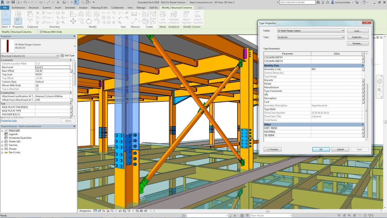 Revit steel column family download