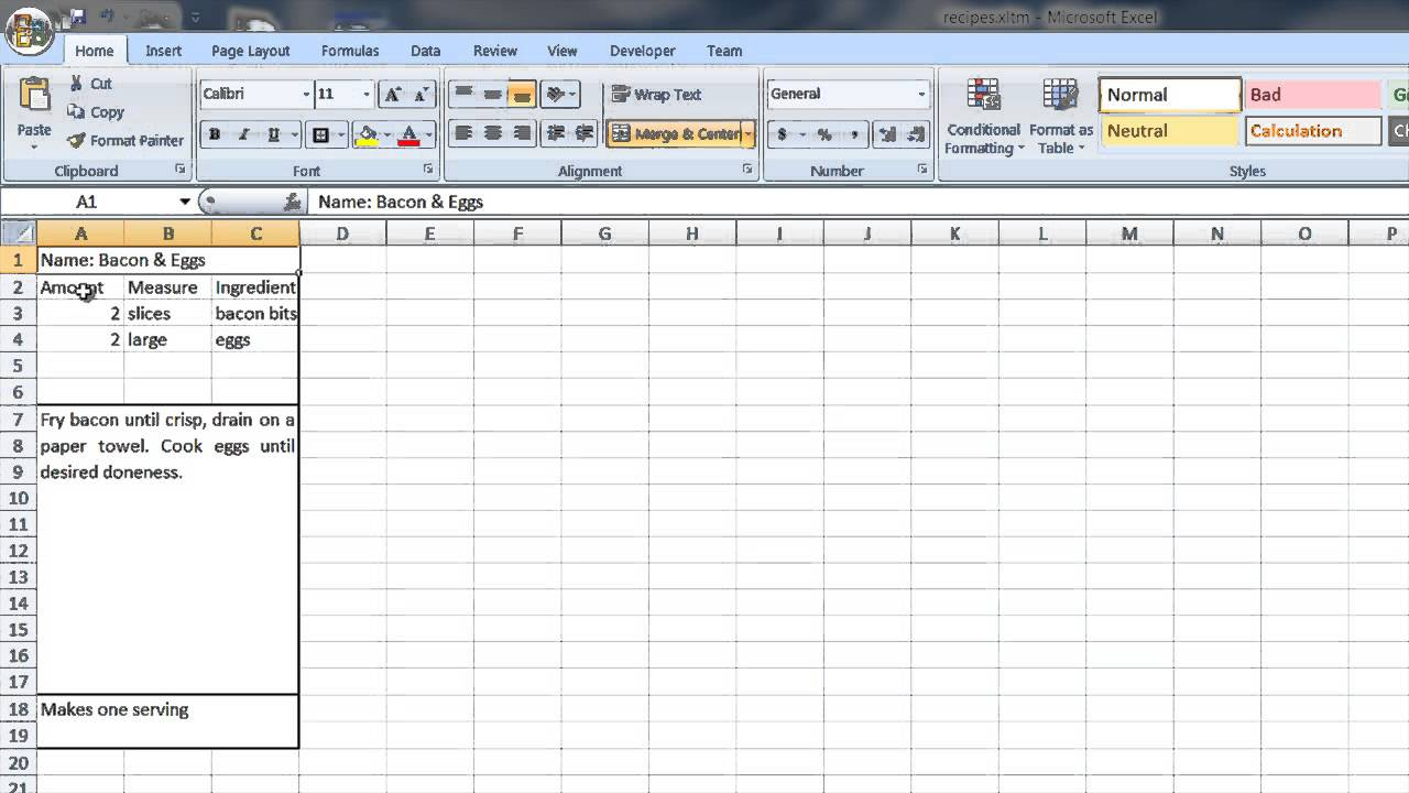 how to create a recipe template in word excel computer tips youtube. Black Bedroom Furniture Sets. Home Design Ideas