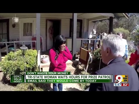 Woman waits hours for prize patrol