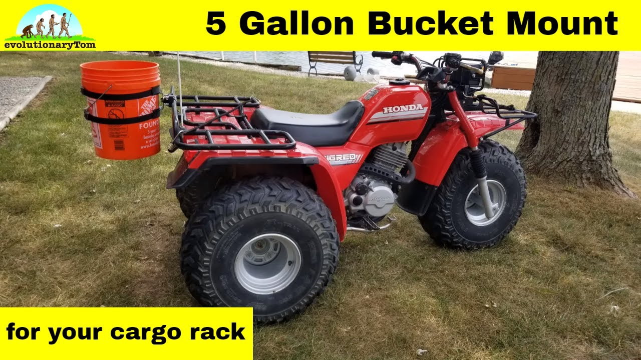 an inexpensive 5 gallon bucket mount for your atv rack  [ 1280 x 720 Pixel ]