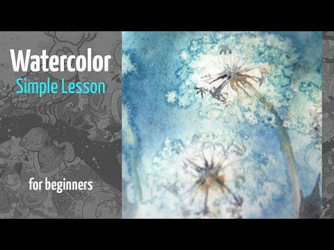 How to Paint Dandelion in Watercolor. Simple Lesson for Beginners. Real Time Video