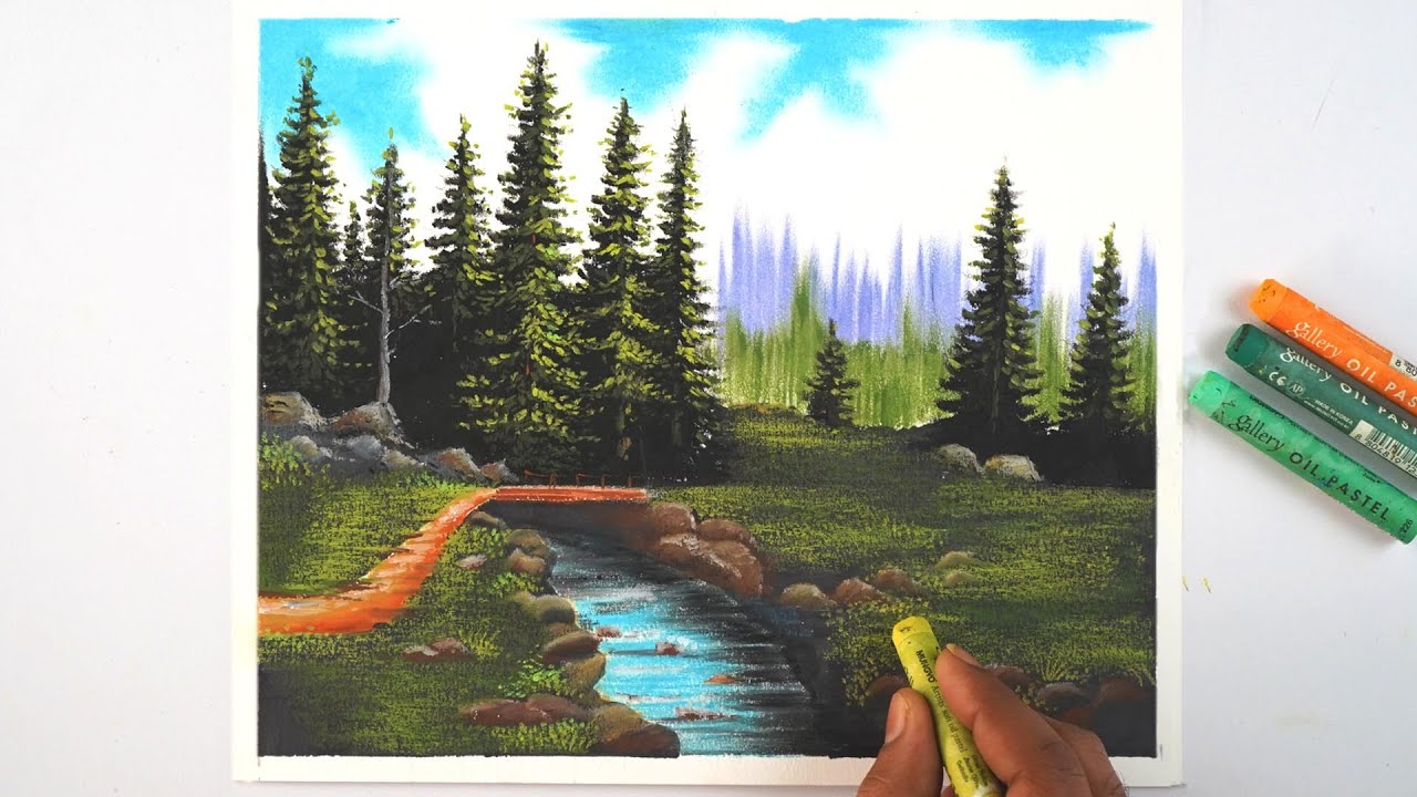 How to draw realistic landscape only using oil pastel easily | step by step tutorial