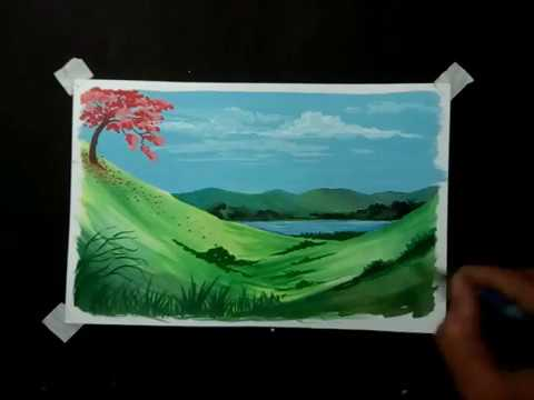 Kids drawing Landscape poster color painting.step by step tutorial.