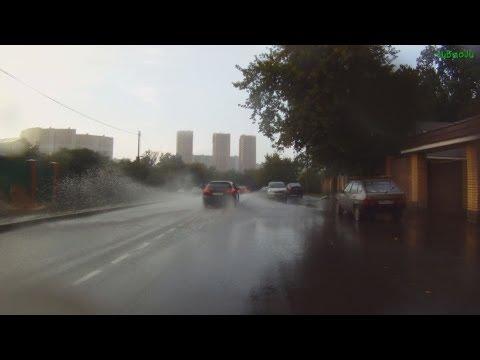 Летом в проливной дождь на велосипеде Cycling in the Rain Москва велосипедная Троице-Лыково Строгино