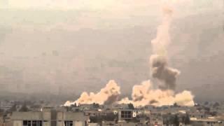 Syria war! Russian Mi 24 drops bombs on Daraya   Сирия, война! Бомбардировка МИ 24 города Дарья