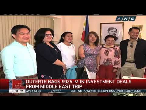 Duterte brings home $925-M in investment deals from Middle East