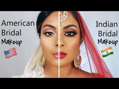 Indian Bridal Makeup Vs. American Bridal Makeup - YouTube