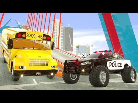 School Bus Billy Rolling Down the Bridge - Saved by Police Car Lucas - Wheel City Heroes New Cartoon