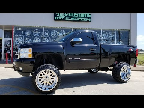 "Single Cab Silverado with a 7.5"" Rough Country Lift and 22x14 American Forces on 33"" Atturo M/T's!"