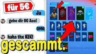 👮SCAMMER sells me OG SKINS ACCOUNT for 5€ with SELTENSTE SKINS and was GESCAMMT in Fortnite...