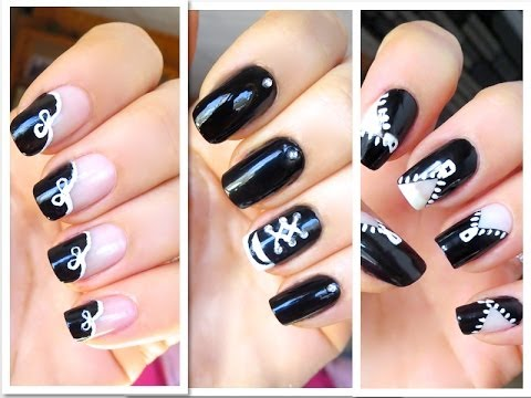 3 Easy and Fun Nail Art Designs with Black an White Nail Polish