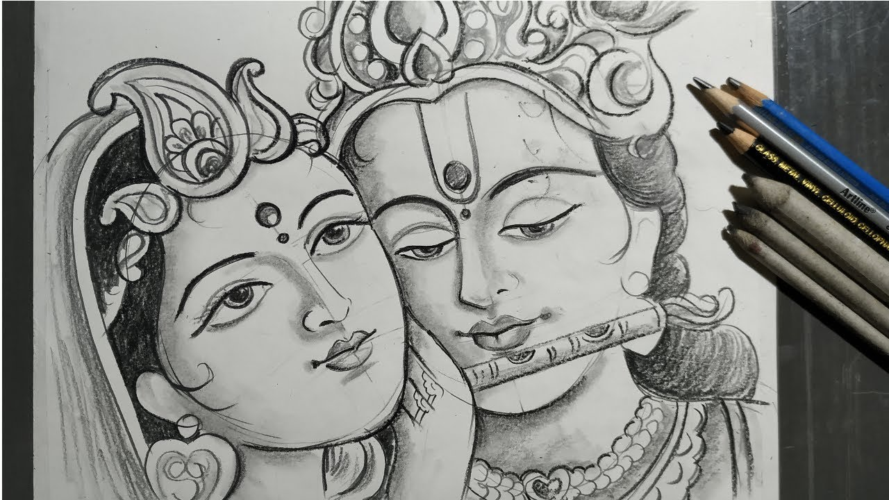 Rashyatra Special Radha Krishna Drawing How To Draw Lord Radha Krishna How To Draw Face Youtube