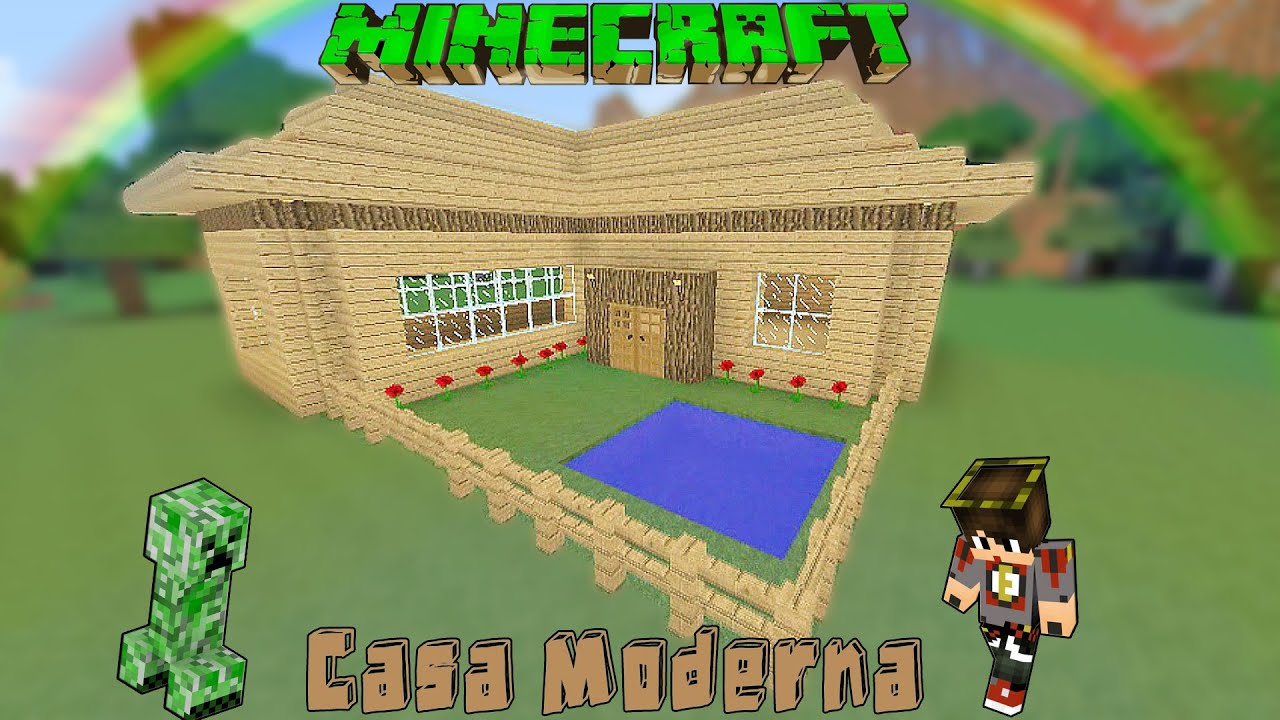 Minecraft casa moderna de madera facil tutorial 1 8 3 for Tutorial casa moderna grande minecraft