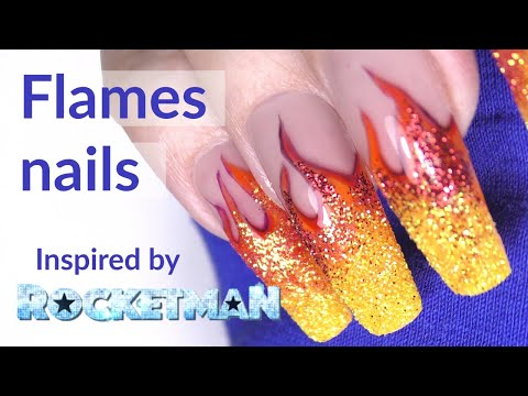 Flames Nail Art Tutorial with Apres Gel-X Extensions Long Coffin thumbnail