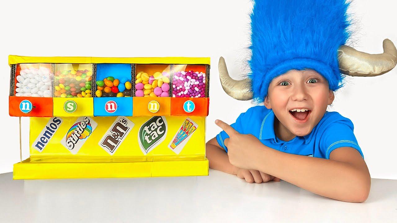 Senya and Mom kids story about candy machine