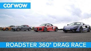 AMG GT C vs Audi R8 vs McLaren 570S vs BMW i8 - 360° Roadsters ROOF, DRAG and ROLLING RACE!