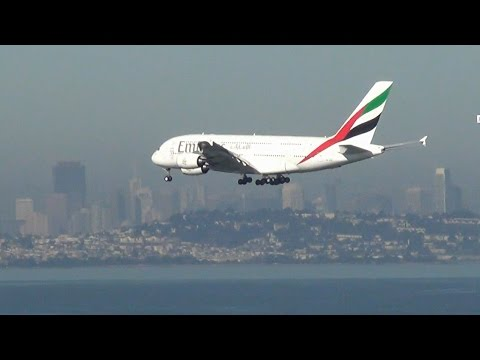 Emirates A380 landing in San Francisco over the bay (A6-EOC).