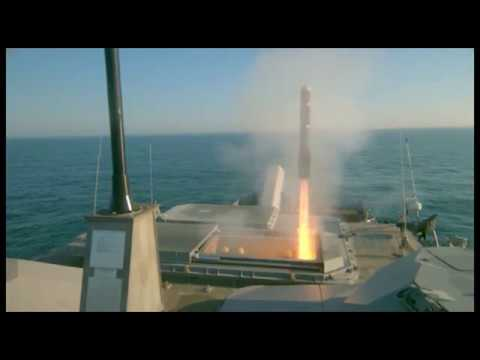 US Navy - USS Milwaukee (LCS 5) Missiles Live Firing [480p]