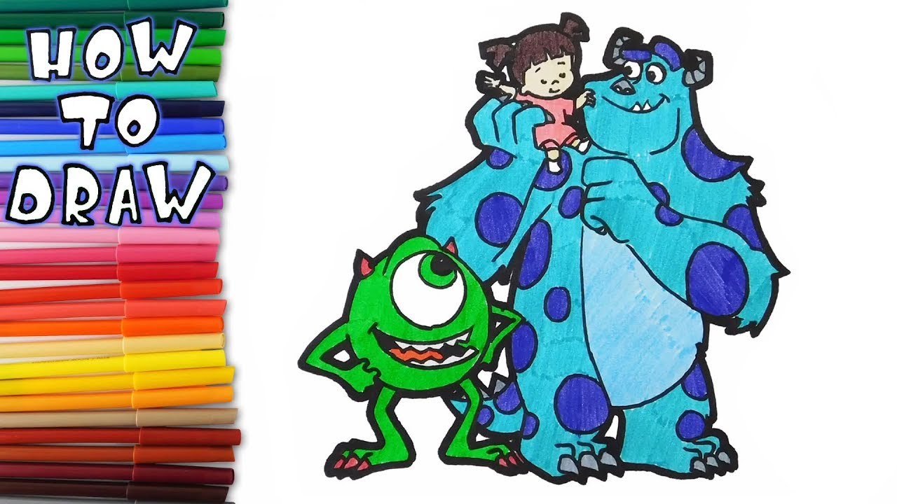 How to draw Mike, Sulley and Boo from Monsters,Inc - learn ...