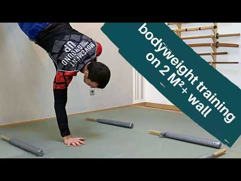 Bodyweight training on 2 squared meters and a wall