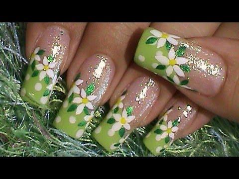 Green Summer Dots & Flower Nail Art Design Tutorial - Green Summer Dots & Flower Nail Art Design Tutorial - YouTube