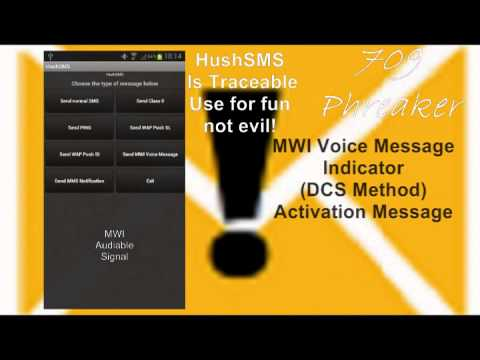 HushSMS MWI Voice Message Icon Sent To Land line