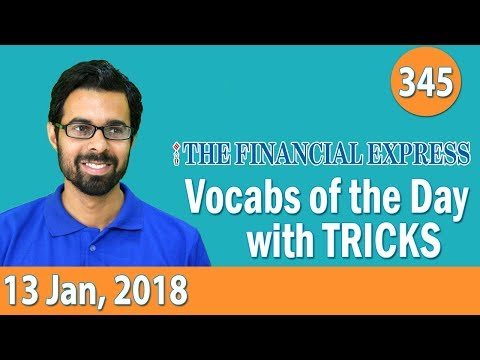 8:00 AM - The Financial Express Vocabulary with Tricks (13th Jan, 2018) | Day- 345