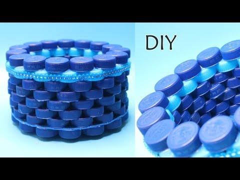 Ide Kreatif TUTUP BOTOL bekas ! Botol Plastik AQUA ! How to make basket from Bottle Cup Craft Ideas