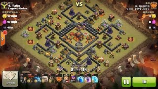Clash of Clans TH10 vs TH10 Golem, Lava Hound, Balloon & Minion (GoLaloonion) Clan War 3 Star Attack
