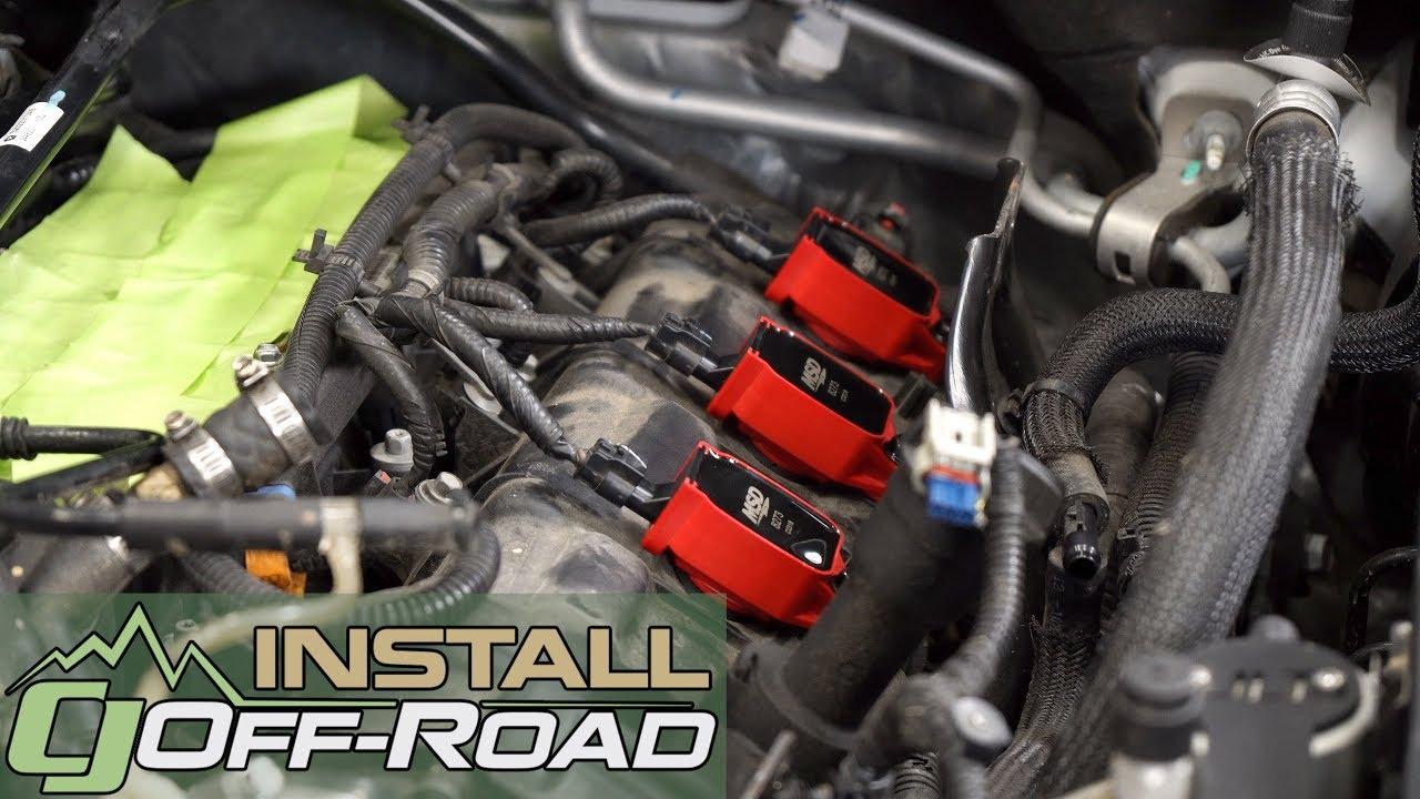 jeep wrangler jk install set of msd red blaster ignition coil packs for 2012 2018 jks [ 1280 x 720 Pixel ]
