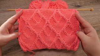 Узор «Ромбы в ромбах» спицами 🐹 «Rhombuses in rhombuses» knitting pattern