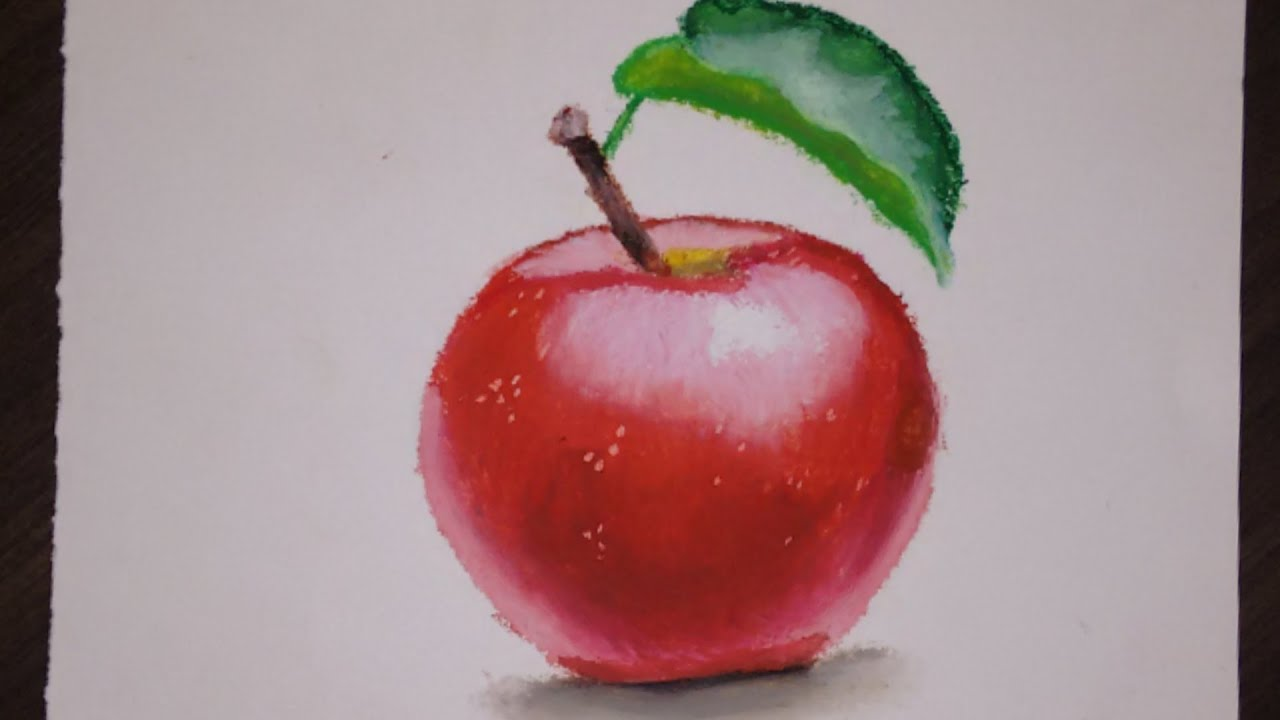 Beginners' Oil Pastel Painting Tutorial (detailed)  How To Draw An Apple   Saminspire  Youtube