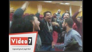 فرحة الفوز لرئيس اتحاد جامعة المنوفية