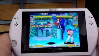 PSP Go running CPS2PSP emulator