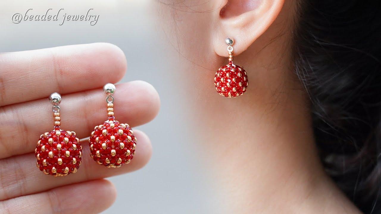 Berries beaded bead earrings. How to make jewelry. Beading tutorial