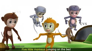 Five Little Monkeys Jumping on the Bed Nursery Rhyme - 3D Animation Rhymes for Children